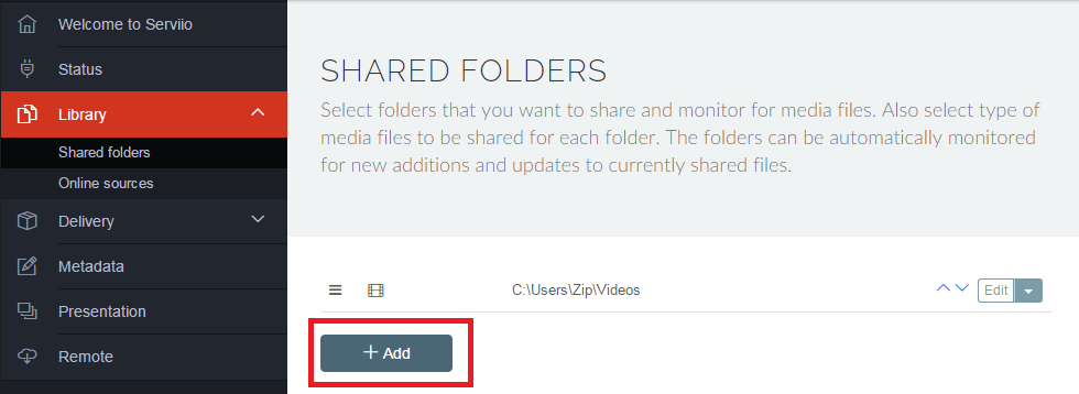 Add new shared folder